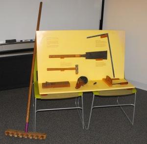 display of carpentry tools and karesansui rake