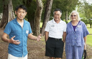 Ebi Kondo of Sho-Fu-En Japanese Garden in Denver Colorado explains the benefits of membership in a public garden organization. Nearby are Friends of Lili`uokalani members Harvey Tajiri and K.T. Cannon-Eger.