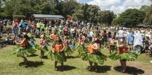 Bill F. Eger photo -- mass hula at He Hali`a Aloha O Lili`uokalani