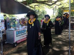 The Royal Order, Ka`ahumanu Society, Hale O Na Ali`i and other dignitaries begin the ceremonies.