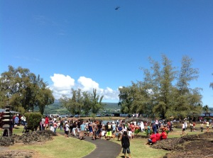 flower drop during the mass hula courtesy of the Hawaii Tropical Flower Council and Blue Hawaiian Helicopters