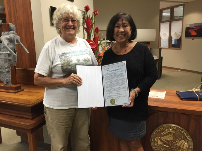 Char presents the 2016 public gardens proclamation to K.T.