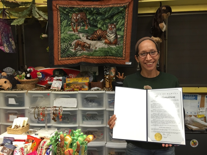 a copy of the proclamation was delivered to Pana`ewa Rainforest Zoo & Gardens