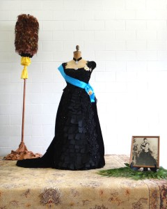 black ribbon gown on display in Sangha Hall